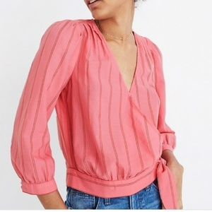 Madewell pink Cecelia stripe wrap top blouse